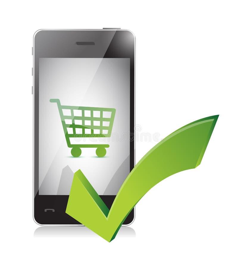 Online-shoppingkorg på en mobiltelefon royaltyfri illustrationer