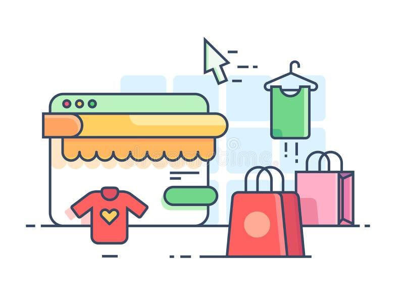 Online-shoppinglägenhet royaltyfri illustrationer