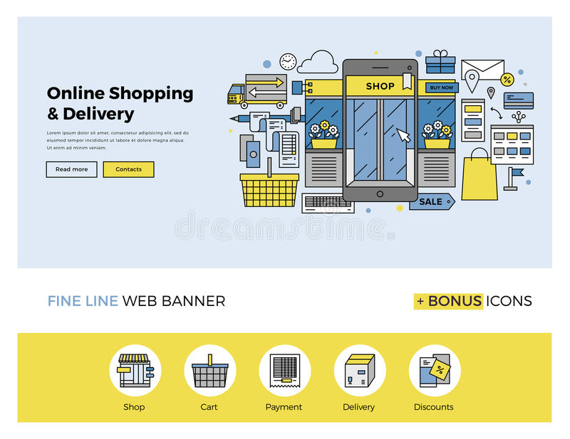 Online-shoppinglägenhetlinje baner royaltyfri illustrationer