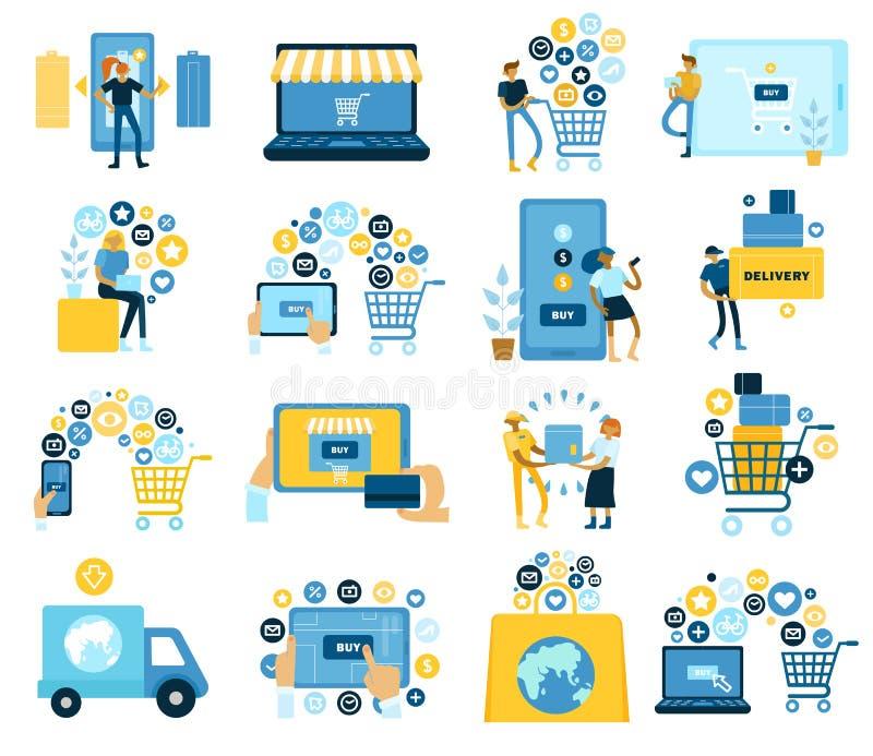 Online-shoppinglägenhetuppsättning royaltyfri illustrationer