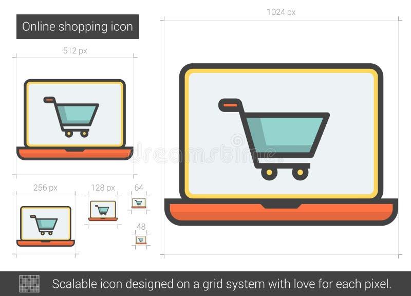 Online-shoppinglinje symbol vektor illustrationer