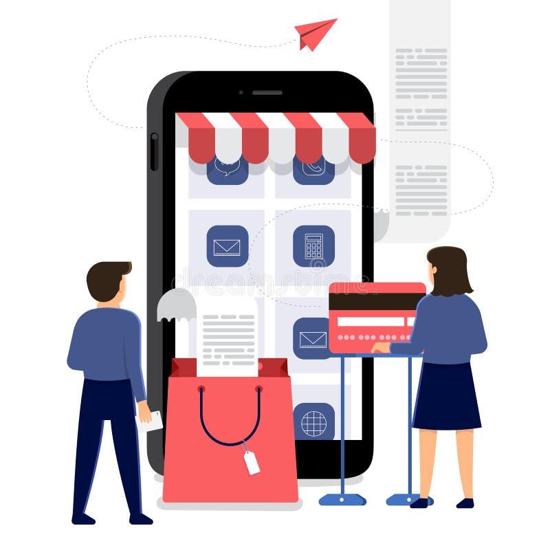 Online-shoppingmobilkommers stock illustrationer