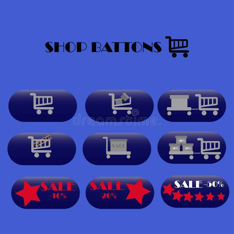 Online-shoppingrengöringsduken shoppar symboler royaltyfria bilder