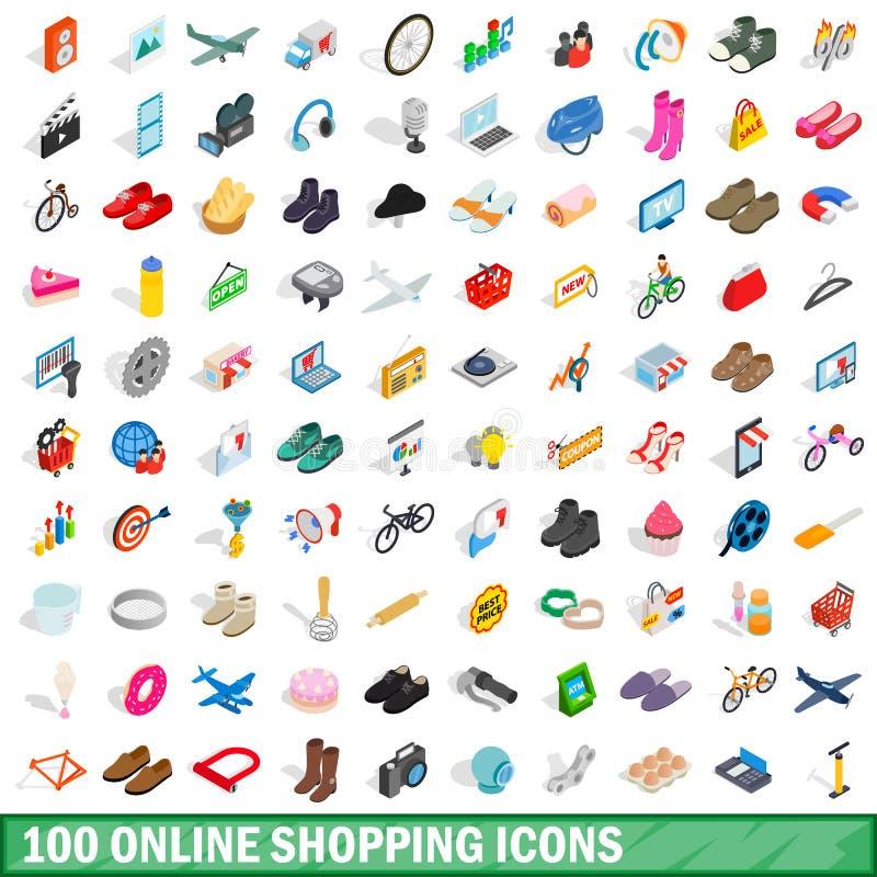100 online-shoppingsymboler ställde in, isometrisk stil 3d vektor illustrationer