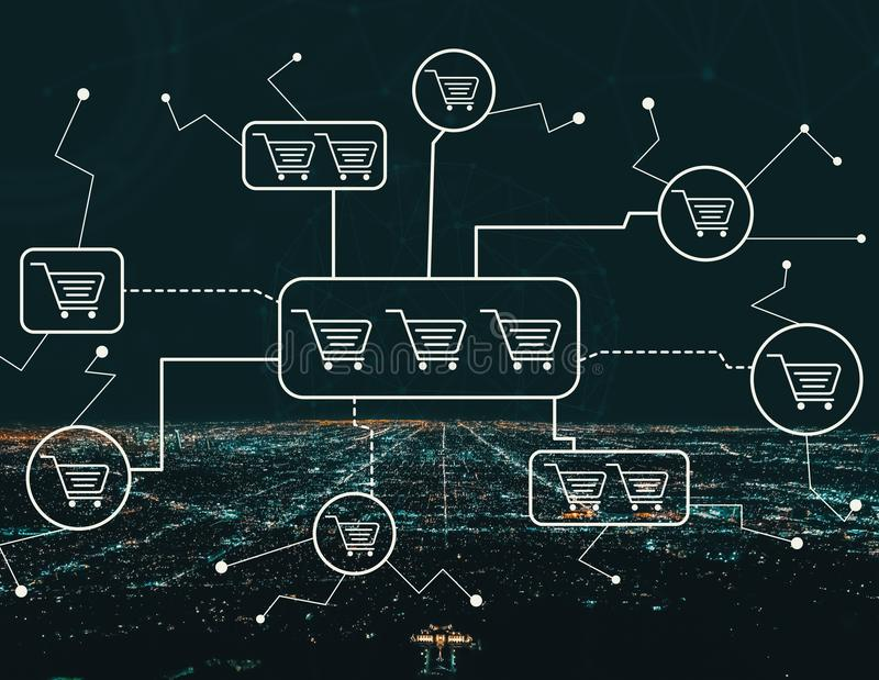 Online-shoppingtema med i stadens centrum Los Angeles vektor illustrationer