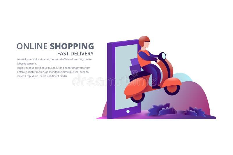 Online-shoppingvektorillustration stock illustrationer
