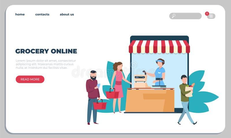 Online-sida för landning för livsmedelsbutikmatleverans Kurirservice, gods som sänder websiten Mat som beställer direktanslutet p royaltyfri illustrationer