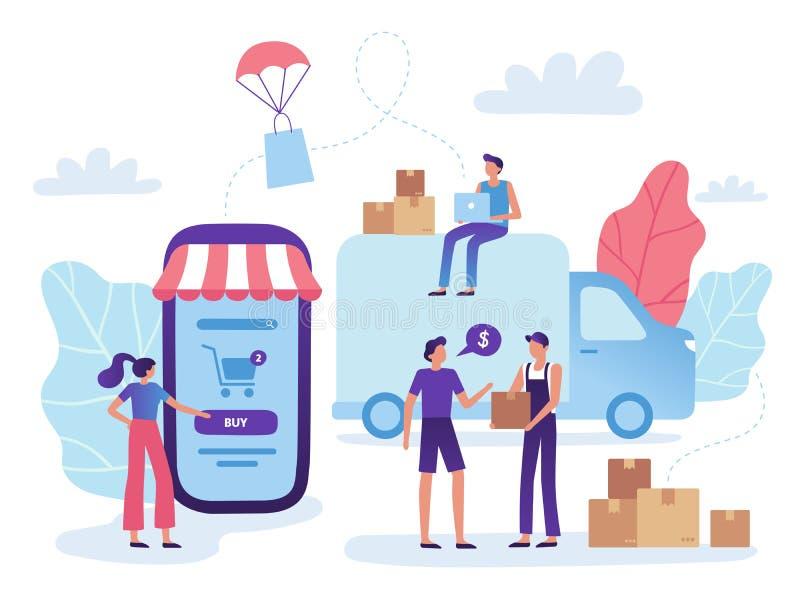 Online sklep dostawa Sieć sklepu handlu detalicznego zakupu wysyłka, towary wprowadzać na rynek nabywać biznesowego wektor i robi ilustracja wektor