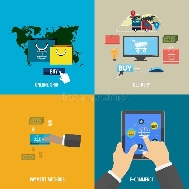 Online sklep, handel elektroniczny, zapłata i dostawa, ilustracja wektor