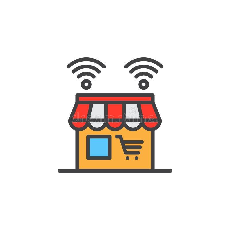 Online sklep linii ikona, wypełniający konturu wektoru znak, liniowy kolorowy piktogram odizolowywający na bielu royalty ilustracja