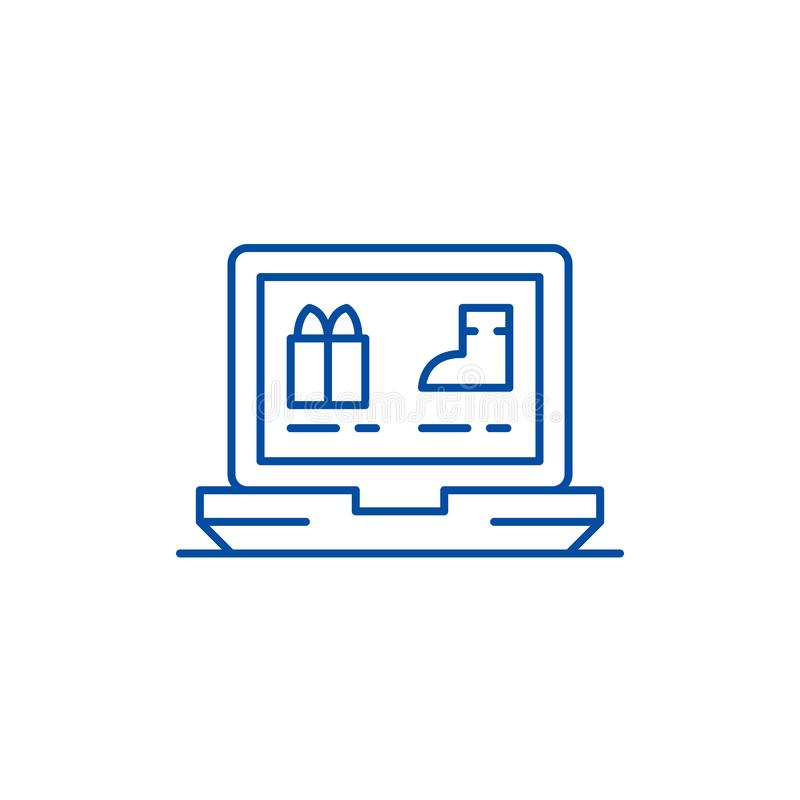 Online sklep odzieżowy linii ikony pojęcie Online sklepu odzieżowego płaski wektorowy symbol, znak, kontur ilustracja ilustracja wektor
