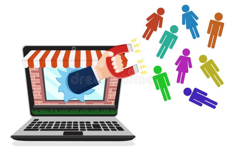 Online sklep przyciąga klientów z magnesem na bielu rynek royalty ilustracja