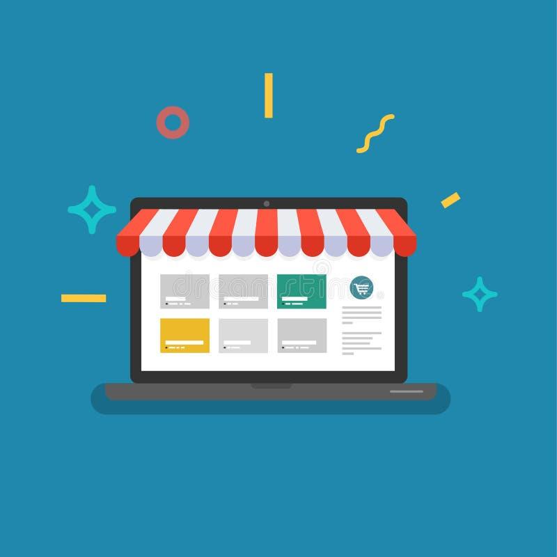 Online sklep Sieć sklep ilustracja wektor