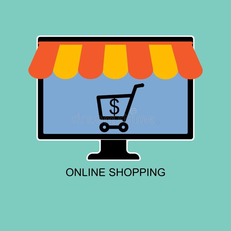 Online sklep, sprzedawanie i kupienie, używać komputer ilustracja wektor