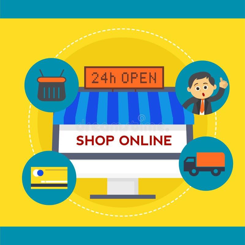 Online sklep z sprzedaży kierownictwem ilustracji