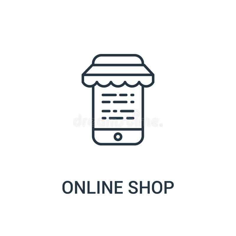 online sklepowy ikona wektor od reklam inkasowych Cienka kreskowa online sklepowa kontur ikony wektoru ilustracja Liniowy symbol  ilustracji