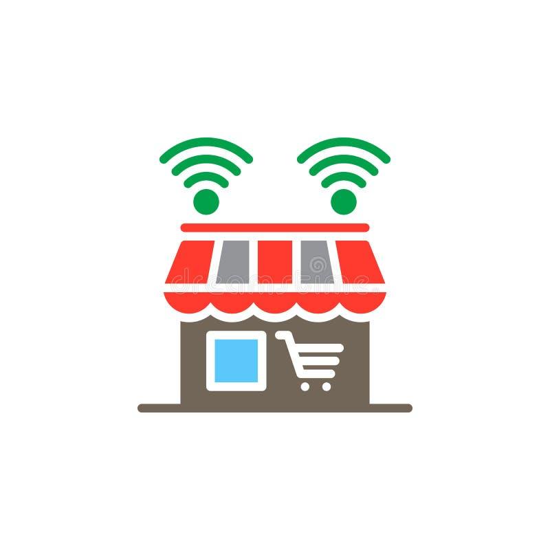 Online sklepowy ikona wektor, wypełniający mieszkanie znak, stały kolorowy piktogram odizolowywający na bielu ilustracja wektor