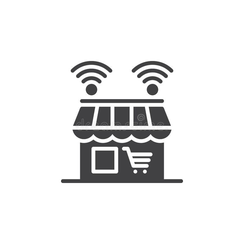 Online sklepowy ikona wektor, wypełniający mieszkanie znak, stały piktogram odizolowywający na bielu ilustracji