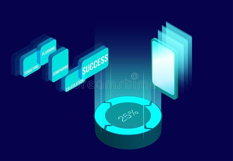 Online sklepu, pieniądze lub transfer danych isometric projekt, Cryptocurrency, bitcoin, internet deponuje pieniądze neonową pien royalty ilustracja