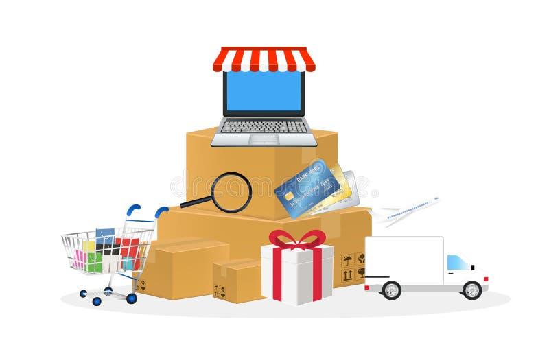 Online sklepu przedmiot z wózek na zakupy pudełka laptopu kredytową karcianą ciężarówką i samolotem royalty ilustracja
