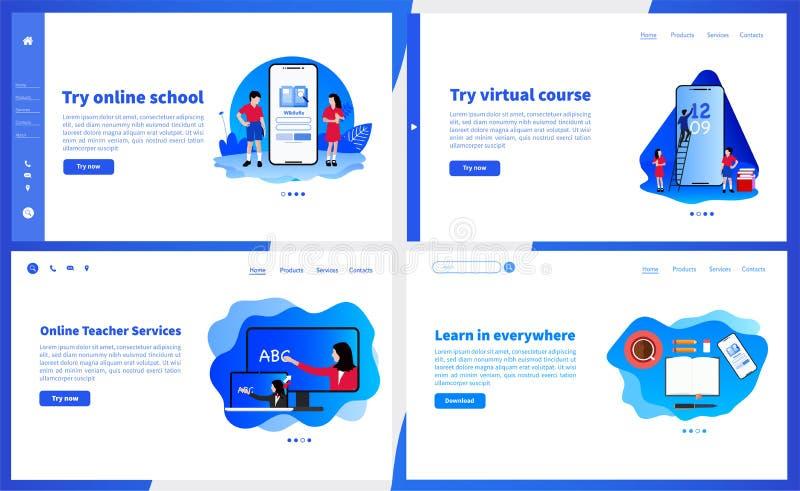 Online-skola eller e-lära den enkla mallen för användargränssnitt UX, UI-skärmför mobil smart telefon eller svars- webbplats Dra  vektor illustrationer