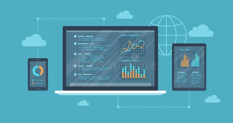 Online skontrum, analizy pojęcie Sieć i wiszącej ozdoby usługa Pieniężni raporty, mapa wykresy na ekranach laptop, telefon, pasty ilustracja wektor