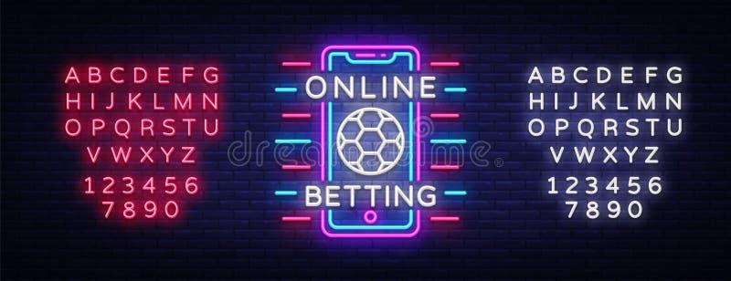 Online-slå vad neontecken Slå vad för sportar Online-slå vad logo, neonsymbol, ljust baner, ljus nattadvertizing stock illustrationer