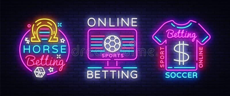 Online-slå vad samlingsneontecken Slå vad för sportar Hästkapplöpning fotboll, online-slå vad logoneon, ljust baner stock illustrationer