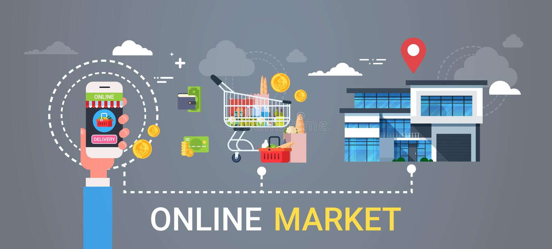 Online-Smart för innehav för hand för marknadsrengöringsdukbaner som telefon beställer begrepp för leverans för för produktlivsme stock illustrationer