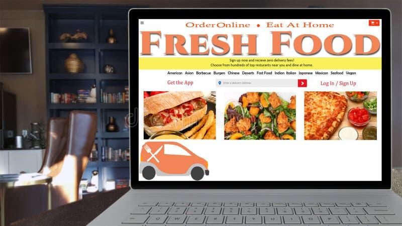 Online-snabbmat som beställer den falska websiten royaltyfri bild