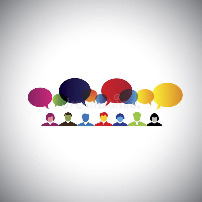 online social network of people talking, chatting - concept vector vector illustration