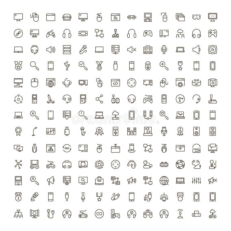 Online spelsymbolsuppsättning vektor illustrationer