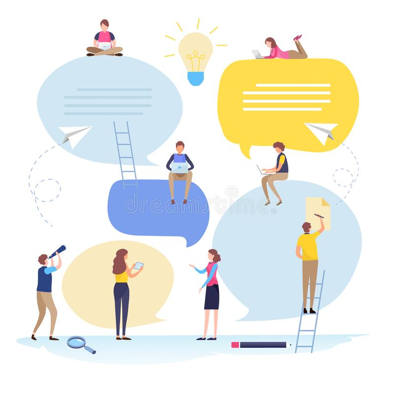 Online społeczność, ludzie biznesu, rekrutacja, dział zasobów ludzkich, mowa bąbel, wiadomość, gadka, rozmowa, komunikacja mieszk ilustracji
