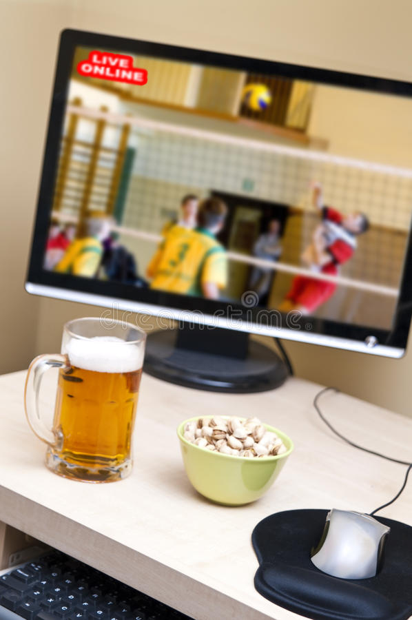 Online sport watching stock images