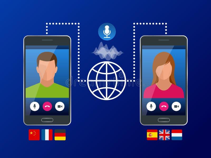 Online-stämmaöversättare och lära språkbegrepp översätt språk eller den ljudsignal handboken, E-lära _ stock illustrationer