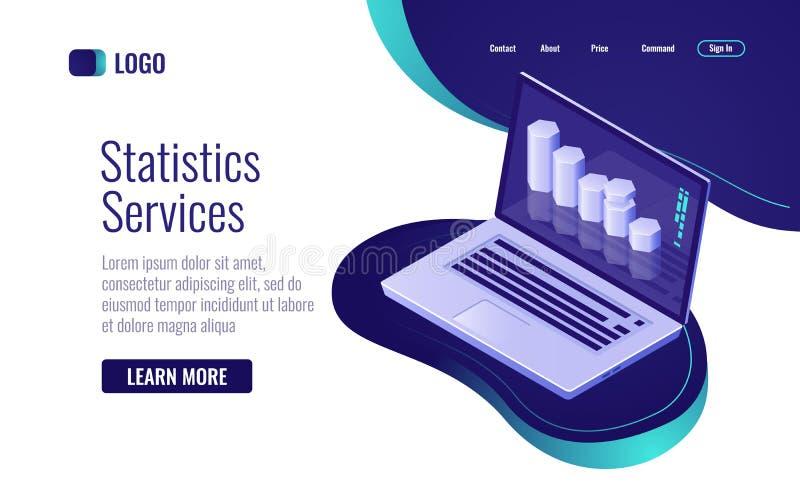 Online statistiek en gegevens - verwerking, informatiegrafiek op het laptop het scherm isometrische pictogram royalty-vrije illustratie