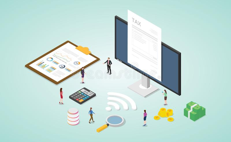 Online-Steuerbericht mit Papierdokument und Monitor mit Geld und Finanzierung der Goldkalkulation mit modernem isometrischem Flac vektor abbildung