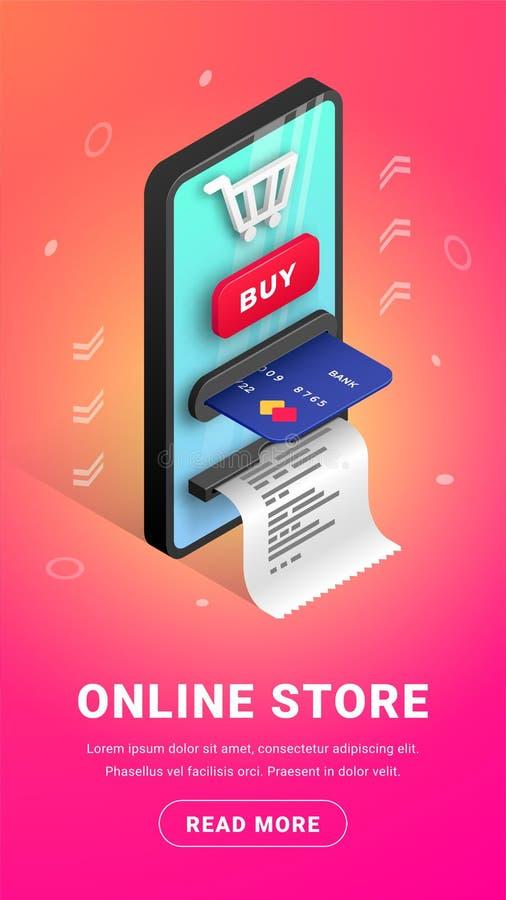 Online store concept banner vertical stock illustration