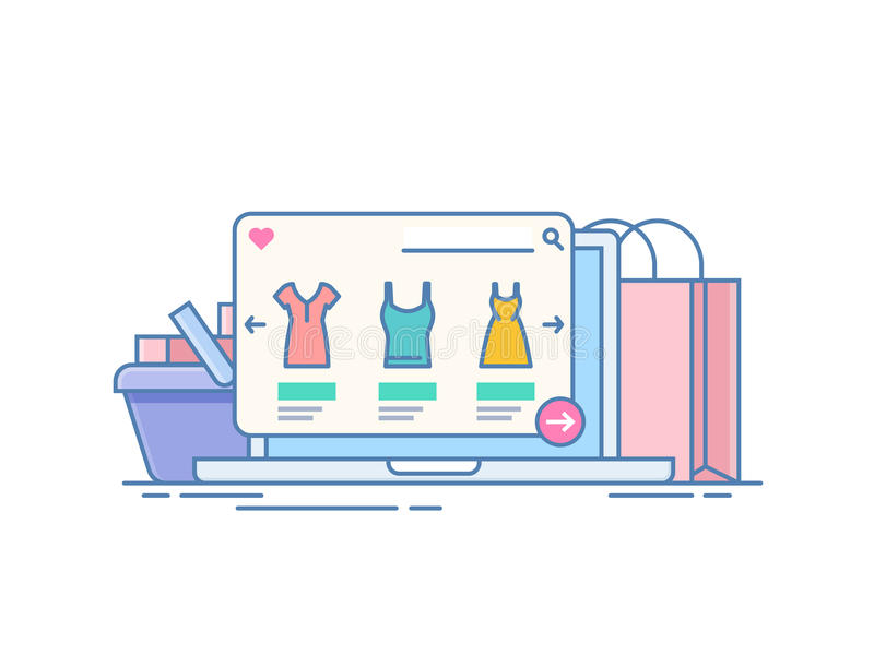 Online store. Concept of purchase on the Internet through the application on the laptop. Computer on the background of. The package and the shopping cart royalty free illustration
