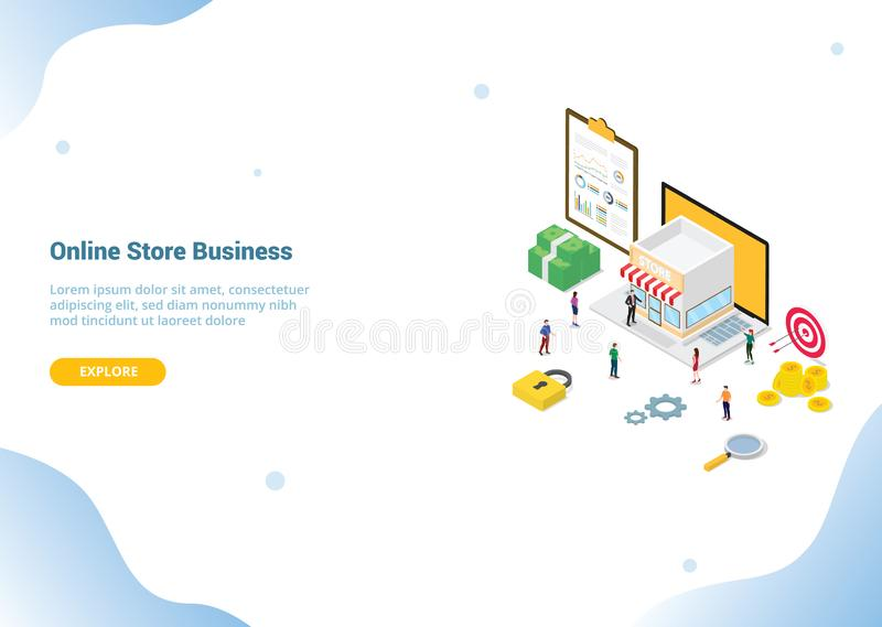 Online store concept with team people men woman with stores building on the smartphone for website template banner or landing royalty free illustration
