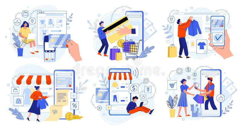 Online store payment. Bank credit cards, secure online payments and financial bill. Smartphone wallets, digital pay. Technology and modern retail flat vector stock illustration