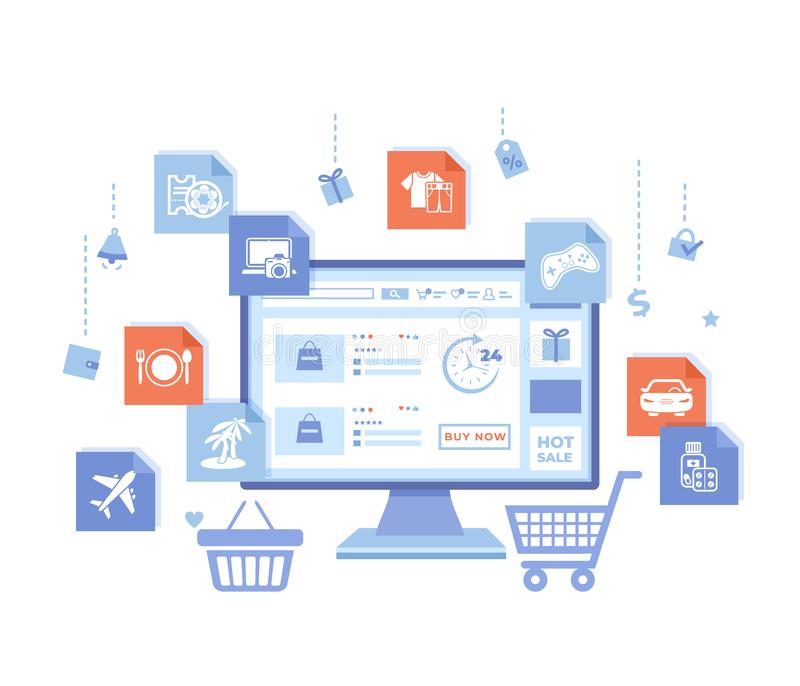 Online Store Shop. Internet virtual shopping, e-commerce, digital marketing. Monitor with webstore on the screen, cart, basket. Product shopping icons. Vector stock illustration