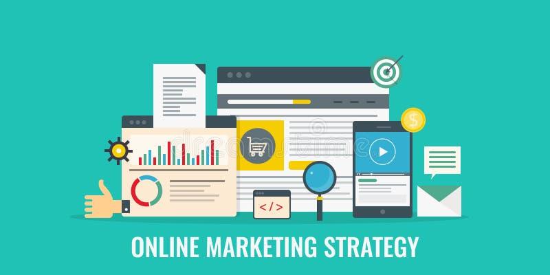 Online strategia marketingowa, interneta biznes, cyfrowy marketing, środki, reklama, sieci promoci pojęcie Płaski projekta sztand royalty ilustracja