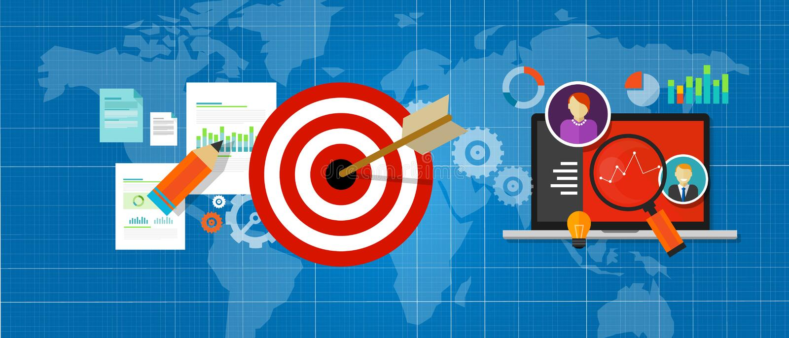 Online strategy measure manage internet traffic target chart. Vector royalty free illustration