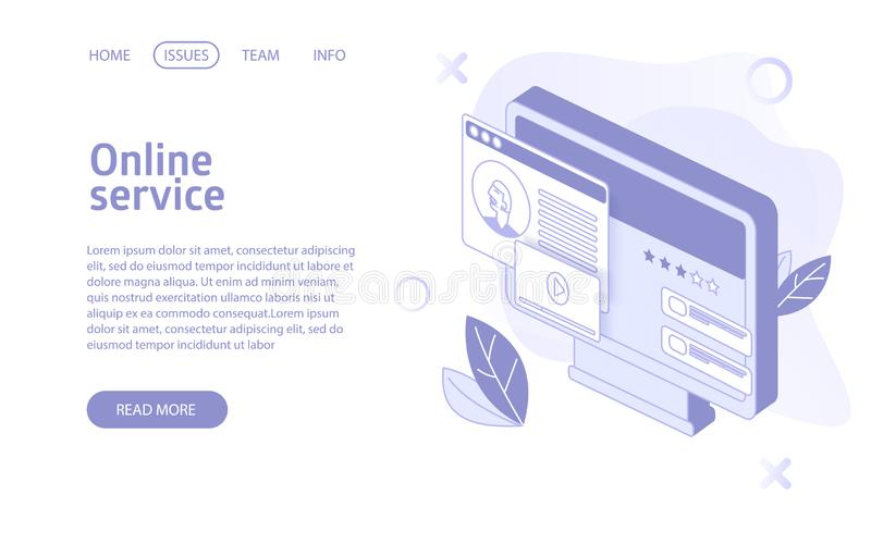 Online stream or video hosting service landing isometric vector stock illustration