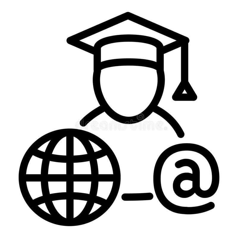 Online student icon, outline style. Online student icon. Outline online student vector icon for web design isolated on white background royalty free illustration