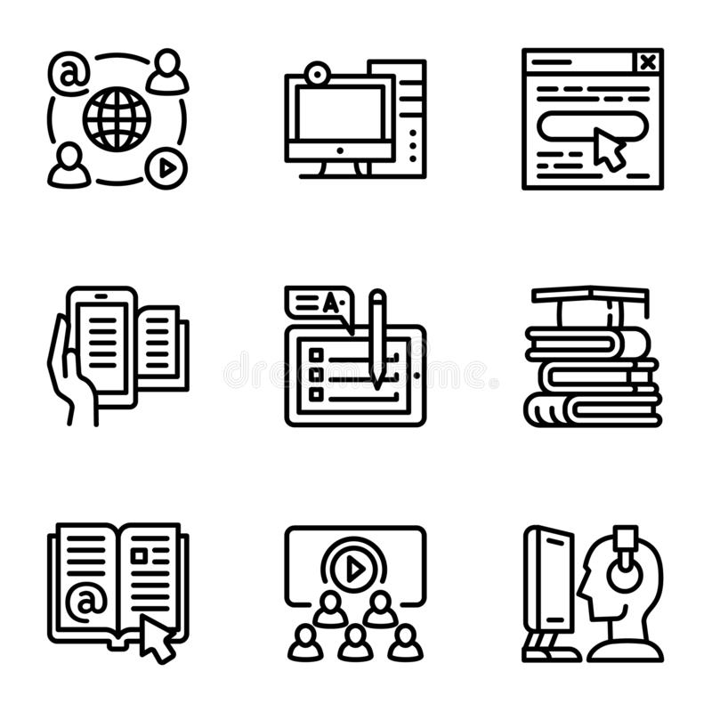 Online study icon set, outline style royalty free illustration