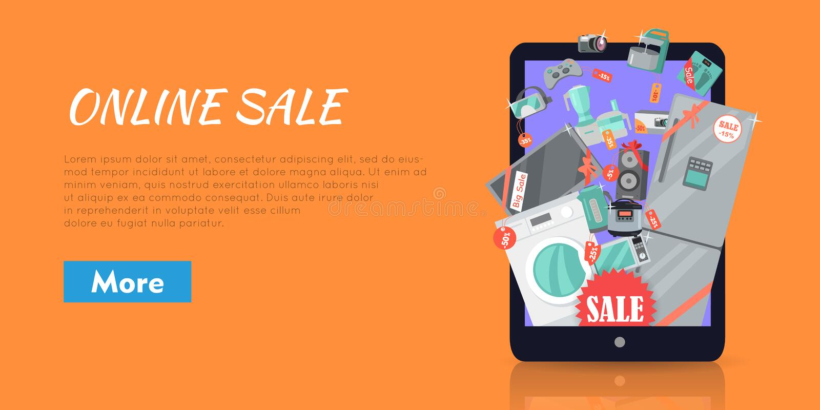 Online Supermarket Sale Appliances in Suitcase. Online sale. Supermarket Sale. Household appliances flat style in suitcase. For electronics stores advertising royalty free illustration