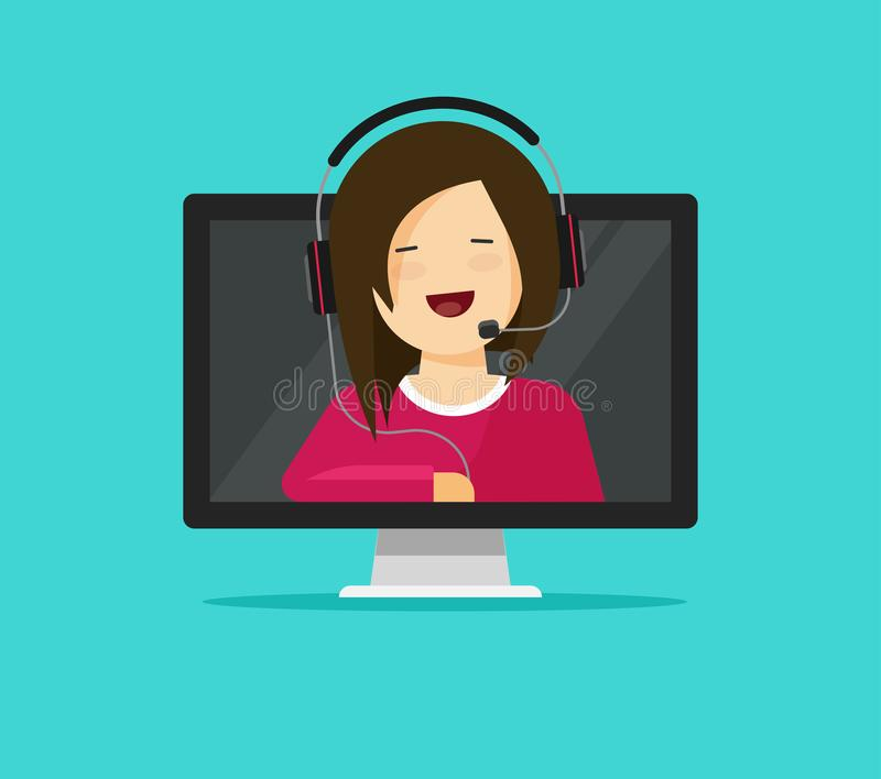 Online support assistant vector illustration, flat cartoon woman consultant in headset talking from pc computer, idea stock illustration