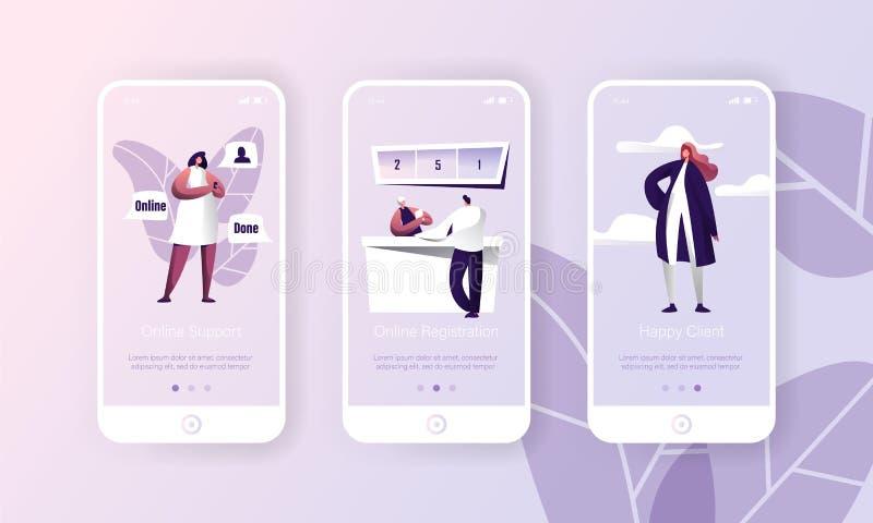 Online Support Customer Hepldesk Service App. Person Register Technology Mobile Application Page Onboard Screen Set royalty free illustration